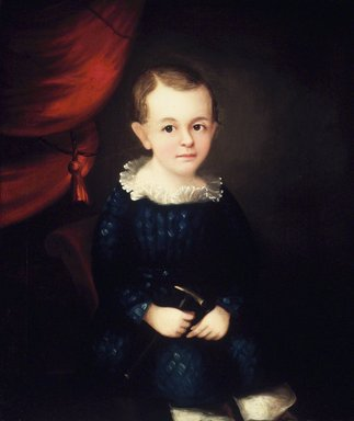 American. <em>Portrait of a Child of the Harmon Family</em>, ca. 1840s. Oil on canvas, 28 x 23 3/4in. (71.1 x 60.3cm). Brooklyn Museum, Gift of Mr. and Mrs. Jason Berger, 1999.111.1 (Photo: Brooklyn Museum, 1999.111.1_transpc002.jpg)