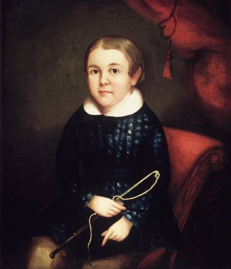 American. <em>Portrait of a Child of the Harmon Family</em>, ca. 1840s. Oil on canvas, 28 x 23 7/8in. (71.1 x 60.6cm). Brooklyn Museum, Gift of Mr. and Mrs. Jason Berger, 1999.111.2 (Photo: Brooklyn Museum, 1999.111.2_transpc002.jpg)