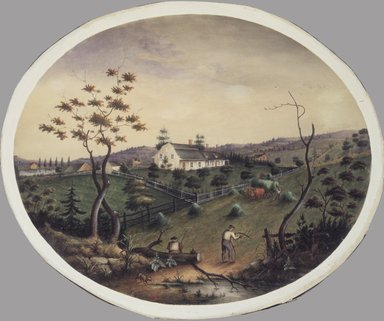 James Ryder van Brunt (American, 1820-1916). <em>Van Brunt Homestead</em>, ca. 1865. Opaque and transparent watercolor and graphite on wove paper mounted to pulpboard, 14 3/4 x 18 in. (37.5 x 45.7 cm). Brooklyn Museum, Bequest of Miriam Godofsky, 1999.112 (Photo: Brooklyn Museum, 1999.112_transpc002_edited.jpg)