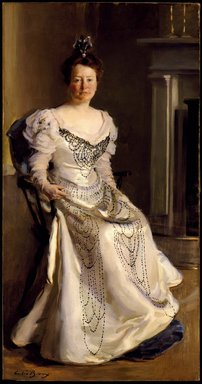 Cecilia Beaux (American, 1855-1942). <em>Mrs. Robert Abbe (Catherine Amory Bennett)</em>, 1898-1899. Oil on canvas, 74 x 39 in. (188 x 99.1 cm). Brooklyn Museum, Gift of Mr. and Mrs. M. R. Schweitzer, 1999.113 (Photo: Brooklyn Museum, 1999.113_SL3.jpg)