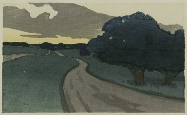 Arthur Wesley Dow (American, 1857-1922). <em>The Long Road--Argilla Road, Ipswich</em>, ca. 1898. Color woodcut, Sheet: 5 3/8 x 8 1/2 in. (13.7 x 21.6 cm). Brooklyn Museum, Alfred T. White Fund, 1999.115 (Photo: Brooklyn Museum, 1999.115_PS1.jpg)