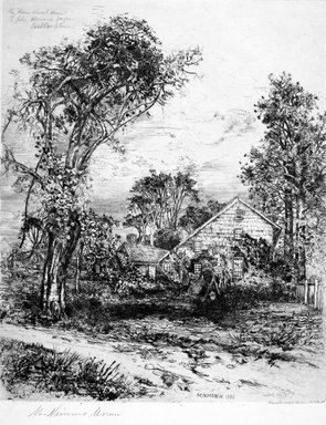 "Mary Nimmo Moran (American, 1842-1899). <em>The ""Home Sweet Home"" of John Howard Payne, East Hampton</em>, 1885. Etching on medium, cream, smooth wove Japanese paper, Image: 15 15/16 x 13 in.  (40.5 x 33.0 cm). Brooklyn Museum, Gift of Alexander Liberman, by exchange, 1999.117 (Photo: Brooklyn Museum, 1999.117_bw.jpg)"