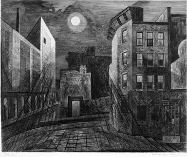 Armin Landeck (American, 1905-1984). <em>Manhattan Moonlight</em>, 1947. Etching, Sheet: 18 x 20 1/2 in. (45.7 x 52.1 cm). Brooklyn Museum, Gift of Julian and Elaine Hyman, 1999.118. © artist or artist's estate (Photo: Brooklyn Museum, 1999.118_bw.jpg)