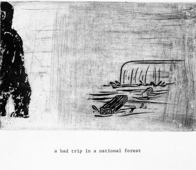 Amy Sillman (American, born 1955). <em>A Bad Trip in a National Forrest</em>, 1999. Etching on paper, sheet: 11 1/4 x 9 in. (28.6 x 22.9 cm). Brooklyn Museum, Gift of the Lower East Side Printship in honor of Marilyn Kushner, 1999.119.10. © artist or artist's estate (Photo: Brooklyn Museum, 1999.119.10_bw.jpg)