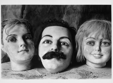 Richard S. Buswell, MD (American, born 1945). <em>Three Mannequin Heads</em>, 1998. Gelatin silver photograph, image: 6 3/4 x 9 3/4 in. (17.1 x 24.8 cm). Brooklyn Museum, Gift of Wallace B. Putnam from the Estate of Consuelo Kanaga, by exchange, 1999.122. © artist or artist's estate (Photo: Brooklyn Museum, 1999.122_bw.jpg)