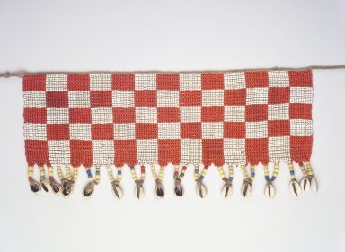 Kirdi. <em>Beaded Apron</em>, early 20th century. Colored glass beads, cotton, shells, 4 3/4 x 14 3/4 in.  (12.1 x 37.5 cm);. Brooklyn Museum, Gift of Mark S. Rapoport, M.D. and Jane C. Hughes, 1999.133.6. Creative Commons-BY (Photo: Brooklyn Museum, 1999.133.6_transp6034.jpg)