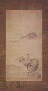 Yi, Kyoung (Korean, 16th century). <em>Boy Riding an Ox</em>, 16th century. Hanging Scroll; Ink and light color on paper, 52 3/4 x 15 3/4in. (134 x 40cm). Brooklyn Museum, Gift of Mr. and Mrs. Leighton R. Longhi, 1999.135 (Photo: Brooklyn Museum, 1999.135_transp4778.jpg)