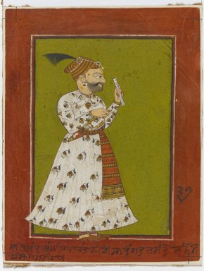 Indian. <em>Portrait of Raja Ajmer Chand of Kahlur</em>, ca. 1730. Opaque watercolor and gold on paper, sheet: 6 7/8 x 5 5/8 in.  (17.5 x 14.3 cm);. Brooklyn Museum, Gift of Anthony A. Manheim, 1999.136.3 (Photo: Brooklyn Museum, 1999.136.3_PS1.jpg)