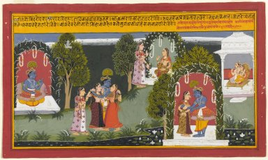 Indian. <em>Kama and Rati Witness the Reunion of Krishna and Radha, Page from a Gita Govinda Series</em>, 1714. Opaque watercolor and gold on paper, sheet: 10 x 16 15/16 in.  (25.4 x 43.0 cm);. Brooklyn Museum, Gift of Anthony A. Manheim, 1999.136.6 (Photo: Brooklyn Museum, 1999.136.6_PS1.jpg)