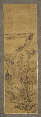 Shang Rui (Chinese, 1634-ca. 1724). <em>Landscape</em>, 1679. Hanging scroll; Ink and slight color on silk, Overall: 51 3/4 x 13 7/8 in. (131.5 x 35.2 cm). Brooklyn Museum, Gift of Amy and Robert L. Poster, 1999.137.1 (Photo: Brooklyn Museum, 1999.137.1_IMLS_SL2.jpg)