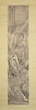 Style of Tang Yin (Chinese, 1470-1523). <em>Snowscape</em>, 1739. Hanging scroll; Ink on paper, Overall: 20 3/4 x 76 7/8 in.  (52.7 x 195.3 cm);. Brooklyn Museum, Gift of Amy and Robert L. Poster, 1999.137.2 (Photo: Brooklyn Museum, 1999.137.2_IMLS_SL2.jpg)