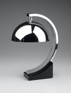 Donald Deskey (American, 1894-1989). <em>Table Lamp</em>, 1927-1931. Chrome-plated metal, painted wood, 14 7/8 x 8 3/4 x 11 in. (37.8 x 22.2 x 27.9 cm). Brooklyn Museum, Gift of Paul F. Walter, 1999.141.9. Creative Commons-BY (Photo: Brooklyn Museum, 1999.141.9_PS2.jpg)