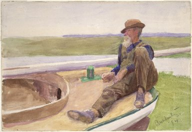 Thomas Pollock Anshutz (American, 1851-1912). <em>Recto: [Untitled] (Man in Boat) 