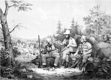 Unknown. <em>Sporting (Shooting Party)</em>, 1844. Lithograph, sheet: 18 5/8 x 23 15/16 in. (47.3 x 60.8 cm). Brooklyn Museum, Gift of Arnold and Pamela Lehman, 1999.145 (Photo: Brooklyn Museum, 1999.145_bw.jpg)