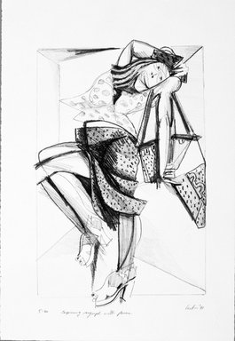 Gerson Leiber (American, 1921-2018). <em>Capering Nymph with Purses</em>, 1990-1991. Lithograph, Sheet: 18 15/16 x 12 15/16 in. (48.1 x 32.9 cm). Brooklyn Museum, Gift of Mr. and Mrs. Gerson Leiber, 1999.146.1. © artist or artist's estate (Photo: Brooklyn Museum, 1999.146.1_bw.jpg)