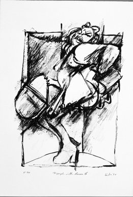 Gerson Leiber (American, 1921-2018). <em>Nymph with Purses lll</em>, 1990-1991. Lithograph, Sheet: 18 7/8 x 13 3/16 in. (47.9 x 33.5 cm). Brooklyn Museum, Gift of Mr. and Mrs. Gerson Leiber, 1999.146.2. © artist or artist's estate (Photo: Brooklyn Museum, 1999.146.2_bw.jpg)