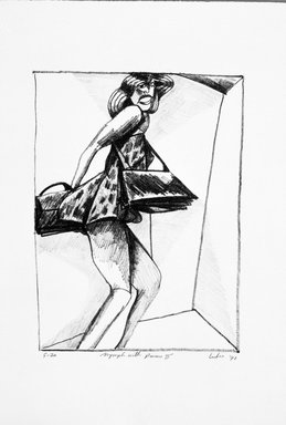 Gerson Leiber (American, 1921-2018). <em>Nymph with Purses ll</em>, 1990-1991. Lithograph, Sheet: 19 x 13 3/16 in. (48.3 x 33.5 cm). Brooklyn Museum, Gift of Mr. and Mrs. Gerson Leiber, 1999.146.3. © artist or artist's estate (Photo: Brooklyn Museum, 1999.146.3_bw.jpg)