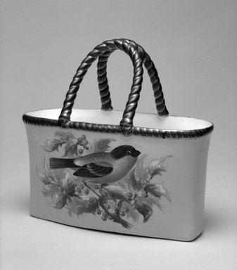 Worcester Royal Porcelain Co. (founded 1751). <em>Basket, shape 232</em>, ca. 1875. Porcelain, 6 1/4 x 6 5/8 x 3 3/8 in. (15.9 x 16.8 x 8.6 cm). Brooklyn Museum, Gift of the Estate of Harold S. Keller, 1999.152.119. Creative Commons-BY (Photo: Brooklyn Museum, 1999.152.119_bw.jpg)