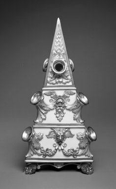 Worcester Royal Porcelain Co. (founded 1751). <em>Bough-Pot</em>, 1886. Porcelain, 13 x 6 1/2 x 6 in. (33 x 16.5 x 15.3 cm). Brooklyn Museum, Gift of the Estate of Harold S. Keller, 1999.152.123. Creative Commons-BY (Photo: Brooklyn Museum, 1999.152.123_bw.jpg)