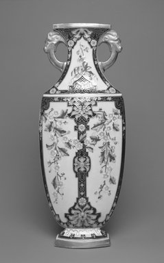 Worcester Royal Porcelain Co. (founded 1751). <em>Vase</em>, 1875. Porcelain, 12 7/8 x 5 1/4 x 2 5/8 in. (32.7 x 13.3 x 6.7 cm). Brooklyn Museum, Gift of the Estate of Harold S. Keller, 1999.152.135. Creative Commons-BY (Photo: Brooklyn Museum, 1999.152.135_bw.jpg)