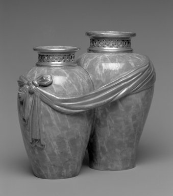 Worcester Royal Porcelain Co. (founded 1751). <em>Vase, shape 226</em>, ca. 1871. Porcelain, 8 x 9 x 5 3/8 in. (20.3 x 22.9 x 13.7 cm). Brooklyn Museum, Gift of the Estate of Harold S. Keller, 1999.152.138. Creative Commons-BY (Photo: Brooklyn Museum, 1999.152.138_bw.jpg)