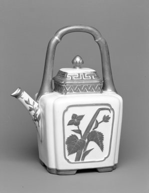 Worcester Royal Porcelain Co. (founded 1751). <em>Teapot and Lid</em>, 1884. Porcelain, 9 13/16 x 7 3/4 x 5 1/2 in. (25 x 19.7 x 14 cm). Brooklyn Museum, Gift of the Estate of Harold S. Keller, 1999.152.149a-b. Creative Commons-BY (Photo: Brooklyn Museum, 1999.152.149a-b_bw.jpg)