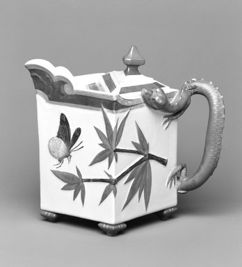Worcester Royal Porcelain Co. (founded 1751). <em>Hot Milk Pot, shape 253</em>, introduced 1872, made 1879. Porcelain, 6 x 7 x 5 1/8 in. (15.3 x 17.8 x 13 cm). Brooklyn Museum, Gift of the Estate of Harold S. Keller, 1999.152.150a-b. Creative Commons-BY (Photo: Brooklyn Museum, 1999.152.150a-b_bw.jpg)