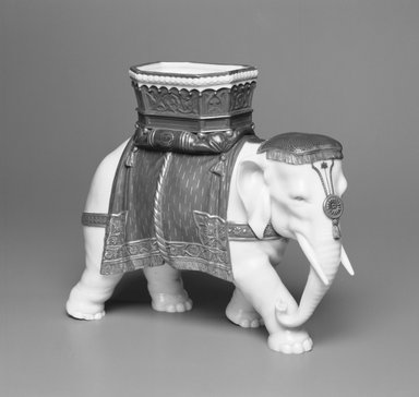 Worcester Royal Porcelain Co. (founded 1751). <em>Elephant</em>, 1869. Porcelain, 7 3/4 x 9 1/2 x 7 15/16 in. (19.7 x 24.1 x 20.2 cm). Brooklyn Museum, Gift of the Estate of Harold S. Keller, 1999.152.155. Creative Commons-BY (Photo: Brooklyn Museum, 1999.152.155_view1_bw.jpg)