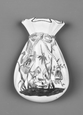 Worcester Royal Porcelain Co. (founded 1751). <em>Bag Bracket, shape 719</em>, introduced 1879, made 1882. Porcelain, 6 x 4 x 2 1/2 in. (15.3 x 10.2 x 6.4 cm). Brooklyn Museum, Gift of the Estate of Harold S. Keller, 1999.152.161. Creative Commons-BY (Photo: Brooklyn Museum, 1999.152.161_bw.jpg)