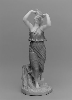 Worcester Royal Porcelain Co. (founded 1751). <em>Female Bacchante, shape 1441</em>, 1898. Porcelain, 10 x 4 1/4 x 4 3/4 in. (25.4 x 10.8 x 12.1 cm). Brooklyn Museum, Gift of the Estate of Harold S. Keller, 1999.152.164. Creative Commons-BY (Photo: Brooklyn Museum, 1999.152.164_bw.jpg)