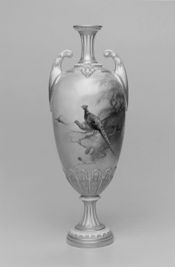 Worcester Royal Porcelain Co. (founded 1751). <em>Vase</em>, 1910. Porcelain, 11 1/2 x 4 1/2 x 4 1/4 in. (29.2 x 11.4 x 10.8 cm). Brooklyn Museum, Gift of the Estate of Harold S. Keller, 1999.152.168. Creative Commons-BY (Photo: Brooklyn Museum, 1999.152.168_bw.jpg)