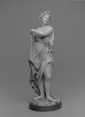 Worcester Royal Porcelain Co. (founded 1751). <em>Figure of Fisherwoman</em>, ca. 1868. Porcelain, 17 1/2 x 6 1/2 in. (44.5 x 16.5 cm). Brooklyn Museum, Gift of the Estate of Harold S. Keller, 1999.152.180. Creative Commons-BY (Photo: Brooklyn Museum, 1999.152.180_bw.jpg)