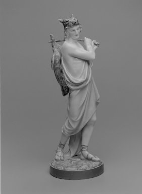 Worcester Royal Porcelain Co. (founded 1751). <em>Figure of Hunter</em>, 1868. Porcelain, 17 1/2 x 6 1/4 x 6 1/2 in. (44.5 x 15.9 x 16.5 cm). Brooklyn Museum, Gift of the Estate of Harold S. Keller, 1999.152.181. Creative Commons-BY (Photo: Brooklyn Museum, 1999.152.181_bw.jpg)