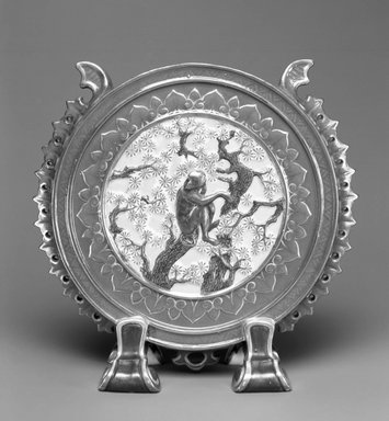 Worcester Royal Porcelain Co. (founded 1751). <em>Vase</em>, 1877. White-bodied porcelain, 6 5/8 x 6 5/8 x 2 1/2 in. (16.8 x 16.8 x 6.4 cm). Brooklyn Museum, Gift of the Estate of Harold S. Keller, 1999.152.1. Creative Commons-BY (Photo: Brooklyn Museum, 1999.152.1_bw.jpg)