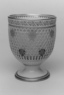 Worcester Royal Porcelain Co. (founded 1751). <em>Bowl</em>, 1876. Porcelain, 5 3/4 x 4 5/8 x 4 5/8 in. (14.6 x 11.7 x 11.7 cm). Brooklyn Museum, Gift of the Estate of Harold S. Keller, 1999.152.200. Creative Commons-BY (Photo: Brooklyn Museum, 1999.152.200_bw.jpg)