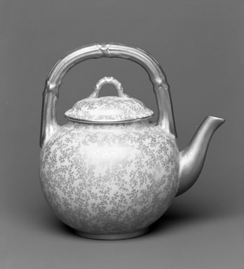 Worcester Royal Porcelain Co. (founded 1751). <em>Teapot</em>, 1886. Porcelain, 6 5/8 x 6 5/8 x 5 in. (16.8 x 16.8 x 12.7 cm). Brooklyn Museum, Gift of the Estate of Harold S. Keller, 1999.152.209a-b. Creative Commons-BY (Photo: Brooklyn Museum, 1999.152.209a-b_bw.jpg)