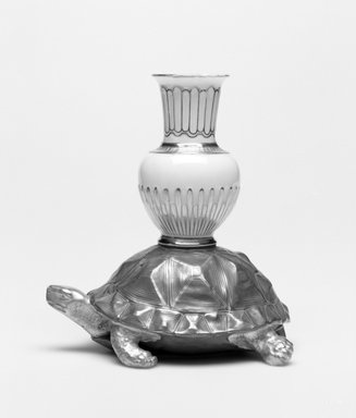 Worcester Royal Porcelain Co. (founded 1751). <em>Tortoise and Amphora</em>, ca. 1880. Porcelain, 4 3/4 x 4 1/4 x 3 1/4 in. (12.1 x 10.8 x 8.3 cm). Brooklyn Museum, Gift of the Estate of Harold S. Keller, 1999.152.217. Creative Commons-BY (Photo: Brooklyn Museum, 1999.152.217_bw.jpg)