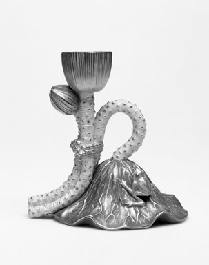 Worcester Royal Porcelain Co. (founded 1751). <em>Lotus Candlestick, shape 1088</em>, ca. 1885. Porcelain, 4 1/2 x 4 7/8 x 3 3/8 in. (11.4 x 12.4 x 8.6 cm). Brooklyn Museum, Gift of the Estate of Harold S. Keller, 1999.152.221. Creative Commons-BY (Photo: Brooklyn Museum, 1999.152.221_bw.jpg)