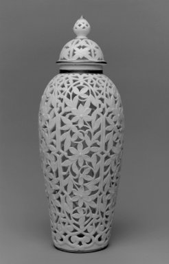 Grainger and Co.. <em>Vase and Cover</em>, before 1889. Porcelain, 8 1/2 x 3 1/4 x 3 1/4 in. (21.6 x 8.3 x 8.3 cm). Brooklyn Museum, Gift of the Estate of Harold S. Keller, 1999.152.232a-b. Creative Commons-BY (Photo: Brooklyn Museum, 1999.152.232a-b_bw.jpg)