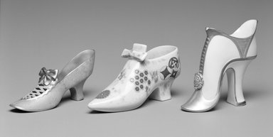 Worcester Royal Porcelain Co. (founded 1751). <em>Slipper</em>, ca. 1875. Porcelain, ivory, 3 3/8 x 6 1/4 x 2 1/4 in.  (8.6 x 15.9 x 5.7 cm). Brooklyn Museum, Gift of Mrs. William E. S. Griswold in memory of her father, John Sloane, 41.980.53. Creative Commons-BY (Photo: , 1999.152.23_41.980.53_1999.152.22_bw.jpg)