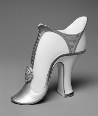 Worcester Royal Porcelain Co. (founded 1751). <em>Shoe</em>, 1883. Porcelain, 5 1/4 x 4 5/8 x 2 in. (13.3 x 11.7 x 5.1 cm). Brooklyn Museum, Gift of the Estate of Harold S. Keller, 1999.152.23. Creative Commons-BY (Photo: Brooklyn Museum, 1999.152.23_bw.jpg)