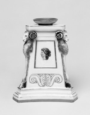 Worcester Royal Porcelain Co. (founded 1751). <em>Candlestick</em>, 1866. Porcelain, 4 7/8 x 4 1/8 x 3 5/8 in. (12.4 x 10.5 x 9.2 cm). Brooklyn Museum, Gift of the Estate of Harold S. Keller, 1999.152.250. Creative Commons-BY (Photo: Brooklyn Museum, 1999.152.250_bw.jpg)