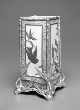 Worcester Royal Porcelain Co. (founded 1751). <em>Vase</em>, ca. 1880. Porcelain, 11 x 6 1/4 x 6 1/4 in. (27.9 x 15.9 x 15.9 cm). Brooklyn Museum, Gift of the Estate of Harold S. Keller, 1999.152.265. Creative Commons-BY (Photo: Brooklyn Museum, 1999.152.265_bw.jpg)