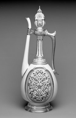 Worcester Royal Porcelain Co. (founded 1751). <em>Ewer with Lid</em>, 1884. Porcelain, 16 1/2 x 6 1/8 x 6 1/8 in. (41.9 x 15.6 x 15.6 cm). Brooklyn Museum, Gift of the Estate of Harold S. Keller, 1999.152.268a-b. Creative Commons-BY (Photo: Brooklyn Museum, 1999.152.268a-b_bw.jpg)