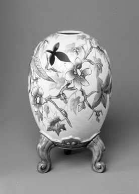 Worcester Royal Porcelain Co. (founded 1751). <em>Vase, shape 190</em>, introduced before 1872, made ca. 1870. Porcelain, 11 7/8 x 4 x 4 in. (30.2 x 10.2 x 10.2 cm). Brooklyn Museum, Gift of the Estate of Harold S. Keller, 1999.152.269. Creative Commons-BY (Photo: Brooklyn Museum, 1999.152.269_bw.jpg)