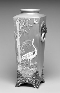 Worcester Royal Porcelain Co. (founded 1751). <em>Vase</em>, 1876. Porcelain, 7 1/4 x 4 1/2 x 4 1/2 in. (18.4 x 11.4 x 11.4 cm). Brooklyn Museum, Gift of the Estate of Harold S. Keller, 1999.152.274. Creative Commons-BY (Photo: Brooklyn Museum, 1999.152.274_bw.jpg)