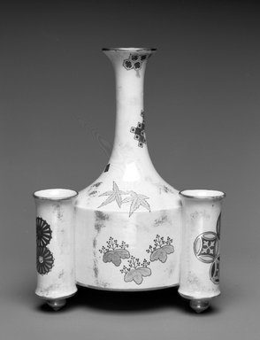 Worcester Royal Porcelain Co. (founded 1751). <em>Vase</em>, ca. 1875. Porcelain, 8 x 5 3/4 x 5 1/8 in. (20.3 x 14.6 x 13 cm). Brooklyn Museum, Gift of the Estate of Harold S. Keller, 1999.152.284. Creative Commons-BY (Photo: Brooklyn Museum, 1999.152.284_bw.jpg)
