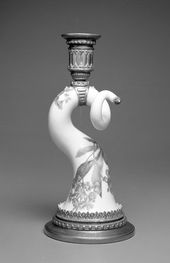 Worcester Royal Porcelain Co. (founded 1751). <em>Horn Candlestick, shape 1056</em>, introduced 1884, made 1884. Porcelain, 9 1/8 x 4 1/4 x 4 1/4 in. (23.2 x 10.8 x 10.8 cm). Brooklyn Museum, Gift of the Estate of Harold S. Keller, 1999.152.308. Creative Commons-BY (Photo: Brooklyn Museum, 1999.152.308_bw.jpg)