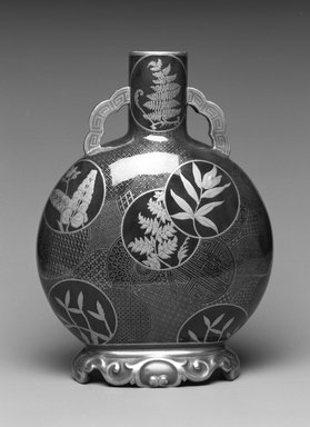 Worcester Royal Porcelain Co. (founded 1751). <em>Vase</em>, 1877. Porcelain, 11 x 8 x 4 3/8 in. (27.9 x 20.3 x 11.1 cm). Brooklyn Museum, Gift of the Estate of Harold S. Keller, 1999.152.318. Creative Commons-BY (Photo: , 1999.152.318_bw.jpg)