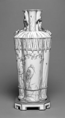 Worcester Royal Porcelain Co. (founded 1751). <em>Vase</em>, ca. 1863. Porcelain, 10 x 4 1/8 x 4 1/8 in. (25.4 x 10.5 x 10.5 cm). Brooklyn Museum, Gift of the Estate of Harold S. Keller, 1999.152.34. Creative Commons-BY (Photo: Brooklyn Museum, 1999.152.34_bw.jpg)